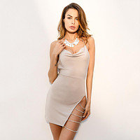 Fashion Solid Color Backless Hollow Split Diamond Metal Chain Sleeveless Halter Mini Dress