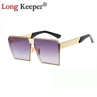 Long Keeper 2017 New Square Hip Hop Fashion Brand Designer Sunglasses Men Women Mirror Sun glasses Oversize Eyeglasses 0019