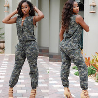 Camouflage Sleeveless Drawstring Jumpsuit