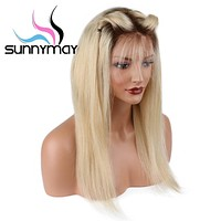 Sunnymay Ombre Blonde Lace Front Wig For Women Middle Part Long Lace Wigs 150% Density Straight Human Hair Wigs With Dark Roots