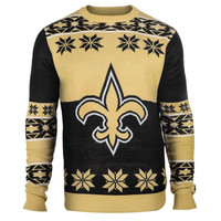 New Orleans Saints Forever Collectibles KLEW Big Logo Ugly Sweater Sizes S-XXL w/ Priority Shipping