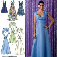 Simplicity 2442 Sewing Pattern Formal Party Dress Bridesmaid Prom Sweetheart Neckline Empire Waist Full Lenght Skirt Uncut FF SIze 6 to 14
