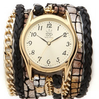 Sara Designs leather and gold chain wrap watch