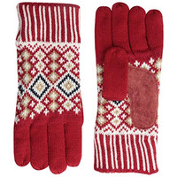 Isotoner Womens Knit Leather Trim Winter Gloves