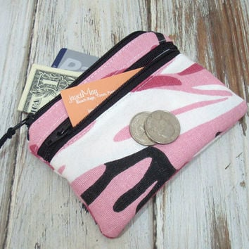 Pink Camouflage Small Card Wallet, Change Purse, Girls Coin Purse
