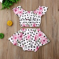 US Toddler Baby Girl Summer Clothes Flower Dot Tops Crop Shorts Dress Outfit Set