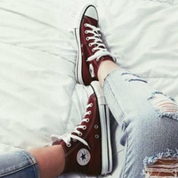 """""""Converse"""" Fashion Canvas Flats Sneakers Sport Shoes Hight tops Wine red"""