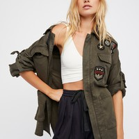 Free People Drapey Military Shirt Jacket