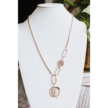 Long Thick Chain Open Link Two Coin Necklace