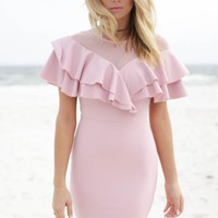 Yes To The Mesh Lavender Double Layered Ruffle Dress