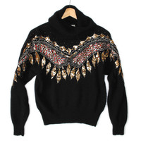 Sparkly Sequin Feathers Western Tacky Ugly Gem Sweater