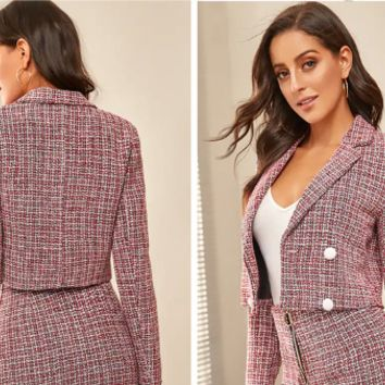 Autumn and winter woolen coat female fashion plaid suit [4259233038433]