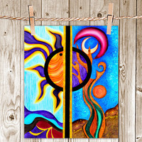Sun and the Moon - 8x10 Print Poster of Fine Art Painting for Your Wall Decor