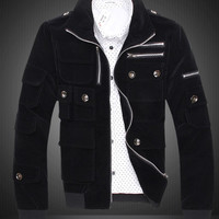 Korean-style Slim Casual Men's Cotton Jackets Black