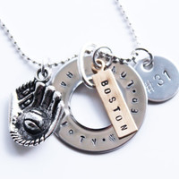 Custom Ultimate Dirty Water  Boston Red Sox hand stamped washer Necklace