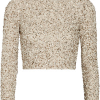 Alice + Olivia - Lacey cropped embellished stretch-mesh top