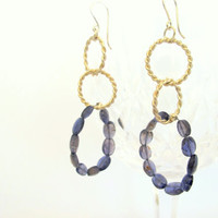 Blue iolite earrings, hoop dangles, genuine gemstone and sterling silver earrings, gift under 50