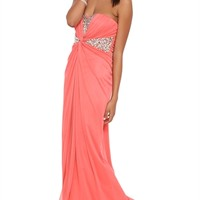 Strapless Long Dress with Chunky Stone Twisted Waist