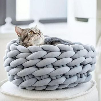3 Size Handmade Knit Cat Bed Winter Warm