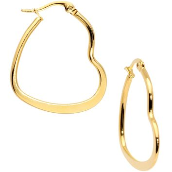 30mm Gold Tone PVD Stainless Steel Heart Hoop Earrings