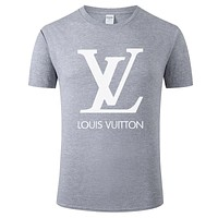 LV new simple solid color classic letter print round neck half sleeve T-shirt Grey