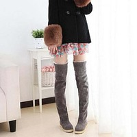 New Womens Thigh High Flat Stretch Over Knee Boots Snow Shoes Warm Fashion Long boots Round Toe Knee High Platform Boots
