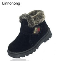 New Winter Kids Warm Boots High Quality Thicken Children Plush Snow Boots Waterproof Leather Boys Girls Soft Shoes Size 23-36