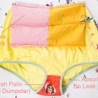 Baby Blue High Waisted Period Panties, Bleed on a Politician! Attachable Heatpack, Customizable, Feminist Underwear, Blue and Pink Undies