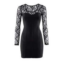 Lace Top and Long Sleeves Slim Fit Little Black Dress