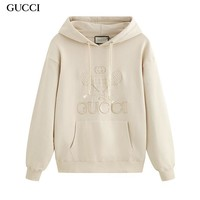 GUCCI fashionable embroidery long-sleeve hoodies are hot sellers of casual hoodies solid colors Apricot