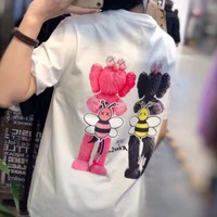 """ Dior"" Woman Casual Fashion Letter Personality Printing Cotton Loose Short Sleeve Tops"