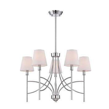 World Imports Millau 5-light Chrome Chandelier With Fabric Shade