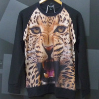 Leopard tiger face animal Long sleeve, Crewneck Sweater size M,L Unisex,women,men tees by Cute classic shop