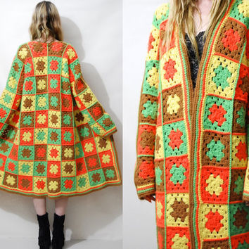 CROCHET Jacket 70s Granny Square Knit Sweater Cardigan Coat Bright Wool Long Boho Bohemian Hippie Handmade ooak S M L