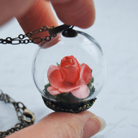 Miniature Rose Necklace Glass Globe Portable Garden Botanical Handmade Pink Love Romance Moss Kitch