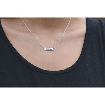 Reversible Blessed Silver Tone Necklace