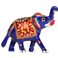 **Offers of The Day ** Trunk-Up Elephant SouvNear 4.2 Inches Elephant Sculpture with Meenakari Work / Good Luck Animal Figurines and Statues / Unique Feng Shui Items