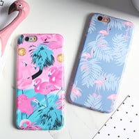 Luxury IMD Cartoon Flamingo Case For iphone 7 Case For iphone7 6 6S PLus Phone Cases Lovely Ostrich Colorful Leaf Back Cover -Girllove100