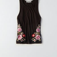 AEO Soft & Sexy Embroidered Hi-Neck Tank, True Black