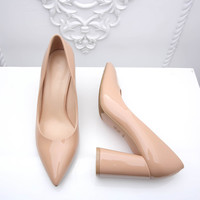 Shoes Woman High Heels Pumps Thick Heels Wedding Shoes For Women Fashion Pointed Toe Work Shoes High Heels Pumps Women B-0226