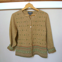 Vintage Cardigan / Heather Camel Embroidered Sweater / Woolrich Cardigan / Lambswool