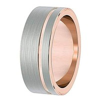 Men's Silver & Rose Gold Flat Tungsten Wedding Ring With Brushed Center - 8mm