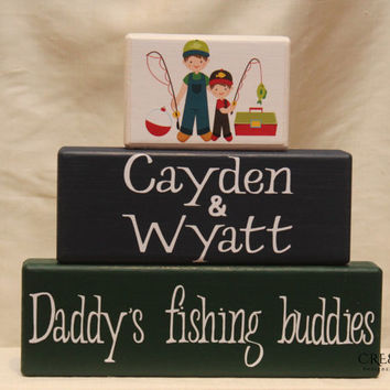 Daddy's Fishing Buddies/Buddy (personalized with different themes) Wood Blocks Personalized with Children's Name