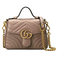 Onewel Gucci Marmont Bag Fashion Wave Print Big Metal Buckle Chain Bag Handbag Khaki