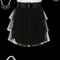 Hot off the WetSeal Runway: Black and White Lace Dress outfit designed by JamesWS