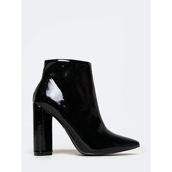Patent Pointed Toe Booties