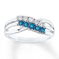 Diamond Ring 1/10 ct tw Blue/White Sterling Silver