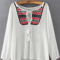 White Embroidered Tie-Neckline Long Sleeve Blouse