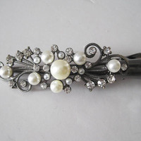 Gorgeous Refashioned Antique Gold Bridal Pearl and Rhinestone Alligator Clip Hair Accessories Clips for Hair Wedding Prom Homecoming