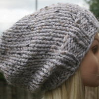 Hand Knit hat- Women's hat- Slouchy- Beanie- Ivory White tweed - Rustic Mega Chunky with wool-women accessories